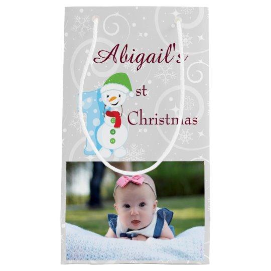 Silver Baby 1st Christmas Photo Small Gift Bag
