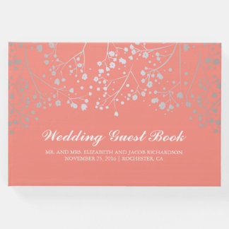 Silver Baby's Breath Floral Elegant Pink Wedding Guest Book