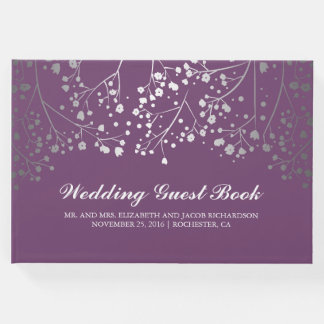 Silver Baby's Breath Floral Elegant Plum Purple Guest Book