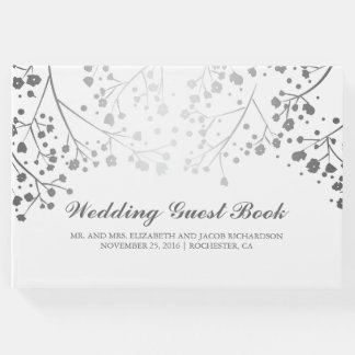 Silver Baby's Breath Floral Elegant White Wedding Guest Book