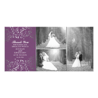 Silver Baby's Breath Wedding Photo Thank You Photo Greeting Card