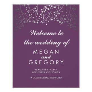 Silver Baby's Breath Wedding Welcome Sign Plum