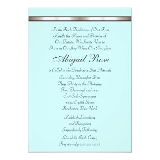 Silver Band Any Color Bat Mitzvah Card
