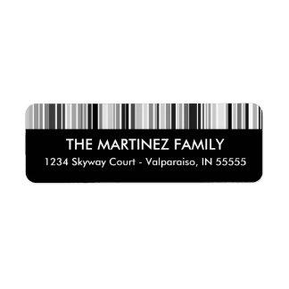 Silver Bar Code Stripes Return Address Label