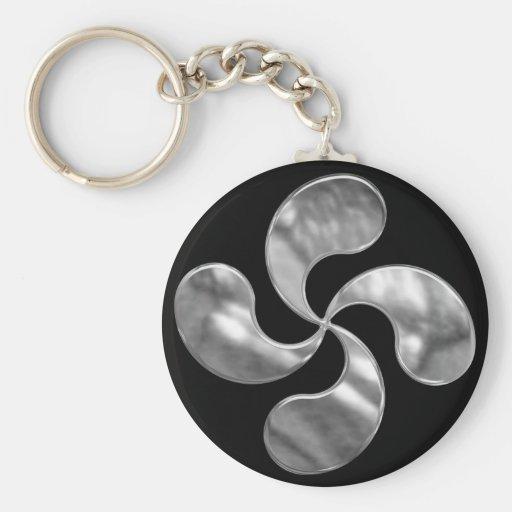 Silver Basque Cross Keychain