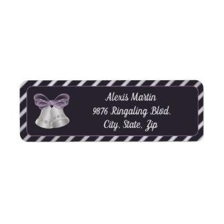 Silver Bells & Diagonal Stripes Return Address Label