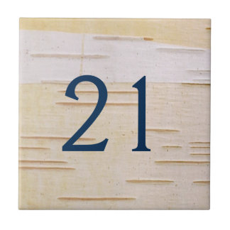 Silver Birch Bark House Number Tile