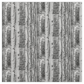 Silver birch Black and White Fabric