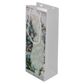 Silver Bird Snowy Tree Wine Gift Bag