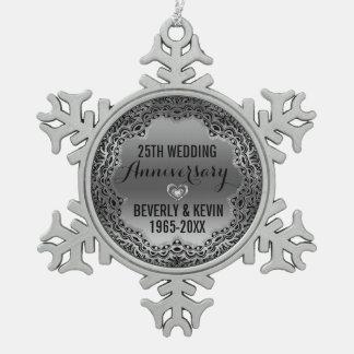 Silver & Black 25th Wedding Anniversary Ornament