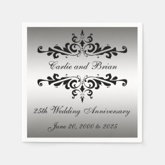 Silver Black 25th Wedding Anniversary Paper Napkin