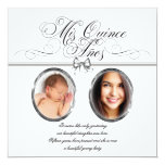 Silver Black and White Photo Quinceanera Personalised Invite