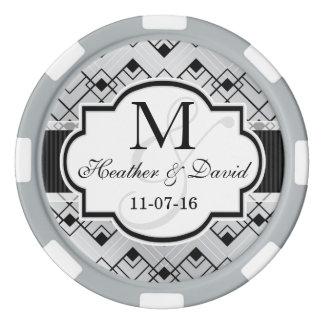 Silver & Black Art Deco Wedding Set Of Poker Chips
