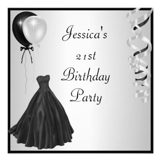 Silver Black Balloons Formal 21st Birthday 5.25x5.25