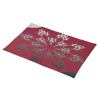 Silver Black Brick Ethnic Abstract Placemat