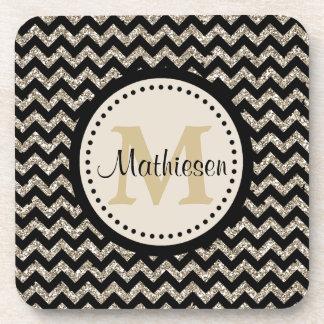 Silver Black Chevron Faux Glitter Monogram Coasters