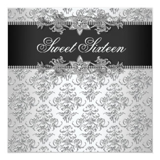Silver Black Damask Black White Sweet 16 Birthday Card