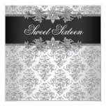 Silver Black Damask Black White Sweet 16 Birthday Personalised Announcement