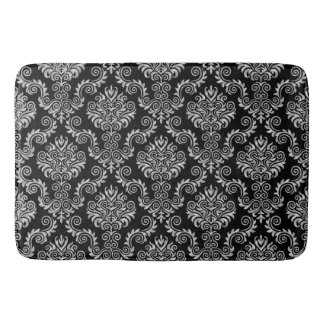 Silver & Black Damask Pattern{pick your color} Bath Mat