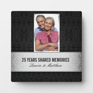 Silver Black Damask Photo Frame 25th Anniversary Photo Plaques