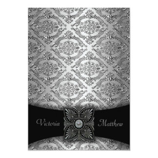 Silver & Black Damask Wedding Invitations