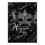 Silver Black Diamond Mask Masquerade Sweet 16 13 Cm X 18 Cm Invitation Card