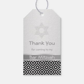 Silver black diamond pattern Bar Mitzvah Gift tag