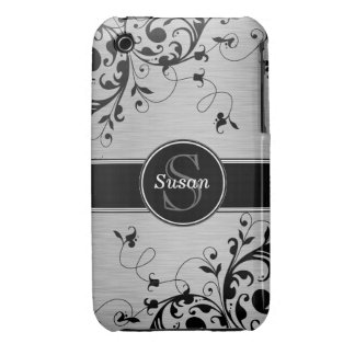 Silver Black Floral Swirls iPhone 3G Case