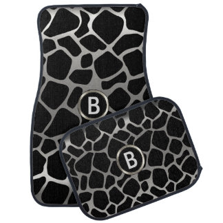 Silver & Black Giraffe Animal Pattern | Monogram Car Mat