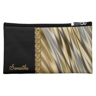 Silver, black, gold chain, monogram cosmetic bag