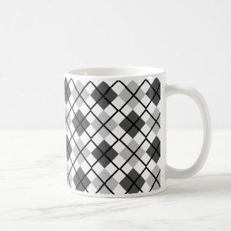 Silver, Black, Grey on White Argyle Print Mug