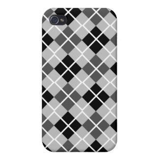 Silver, Black, Grey & White Argyle iPhone 4 Case