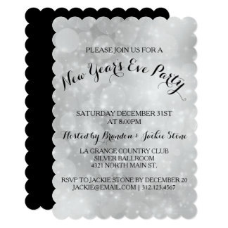 Silver Black Hollywood Glam New Year's Eve Card