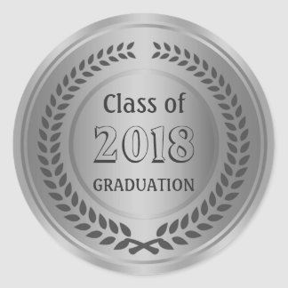 Silver black Laurel wreath Graduation Classic Round Sticker