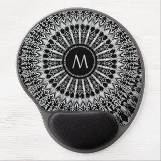 Silver Black Mandala Monogram Gel Mouse Pad