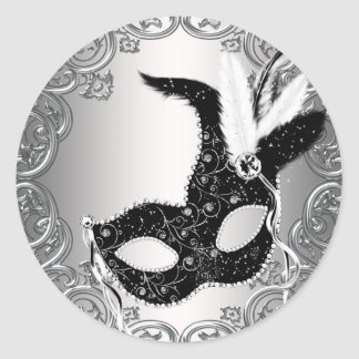 Silver Black Mask Masquerade Envelope Seal Favor Round Sticker