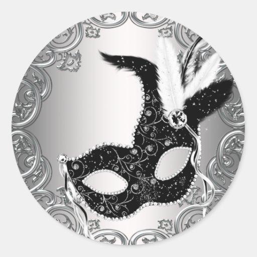 Silver Black Mask Masquerade Envelope Seal Favor Round Stickers