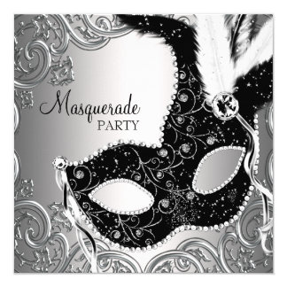 Silver Black Mask Masquerade Party Card
