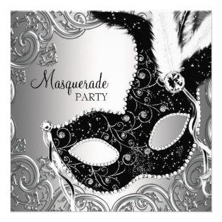 Silver Black Mask Masquerade Party Invites