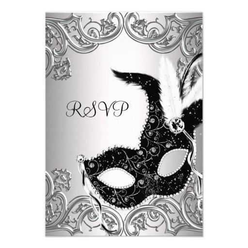 Silver Black Mask Masquerade Party RSVP Invitation