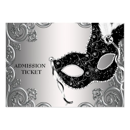 Silver Black Masquerade Party Admission Tickets Business Cards
