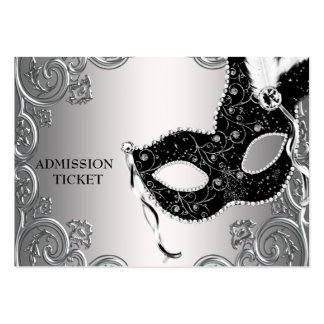 Silver Black Masquerade Party Admission Tickets Pack Of Chubby Business Cards