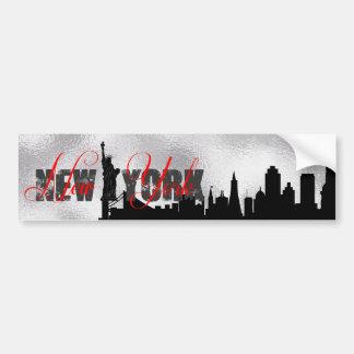 Silver, Black New York Skyline Bumper Sticker