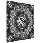 Silver Black Om Sign Love Mandala NewAge Canvas Stretched Canvas Print
