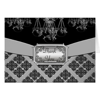 Silver & Black Ornate Chandelier Wedding Card