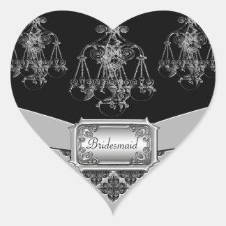Silver & Black Ornate Chandelier Wedding Heart Sticker