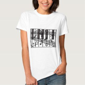 Silver Black Piano Keyboard Notes and Stars Tee Shirts