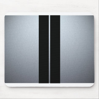 Silver & Black Racing Car Stripes Mouse Pad