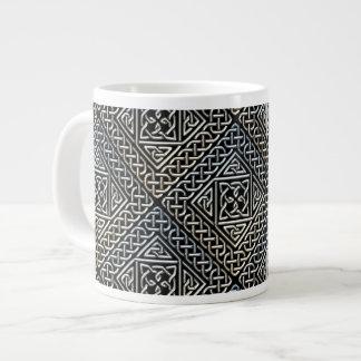 Silver Black Square Shapes Celtic Knotwork Pattern Jumbo Mug