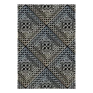 Silver Black Square Shapes Celtic Knotwork Pattern Photograph